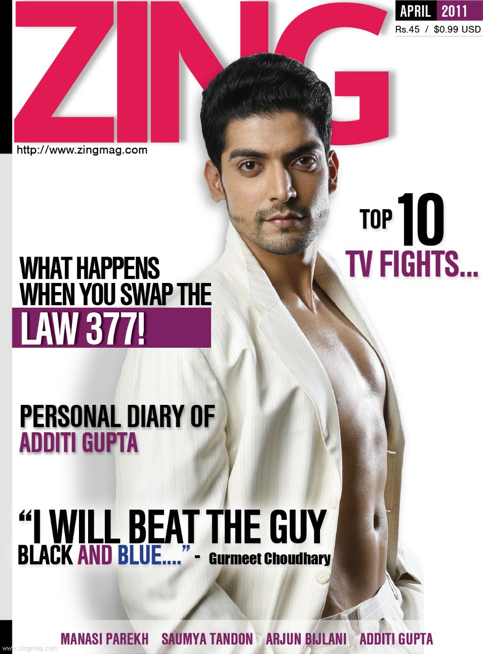 Zing Magazine - April 2011 Cover featuring Gurmeet Choudhary