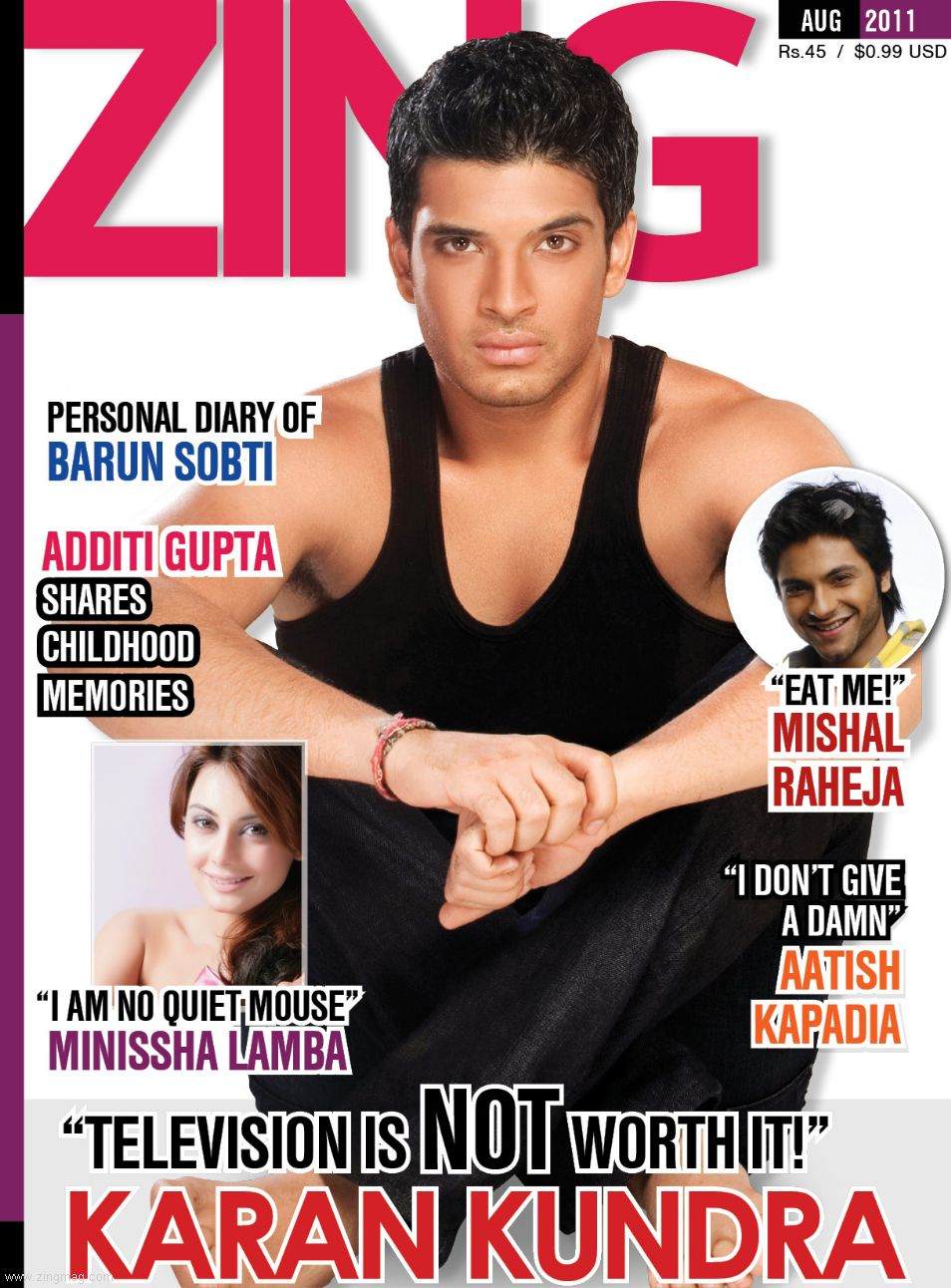 Zing Issue August 2011 Coverpage - Karan Kundra