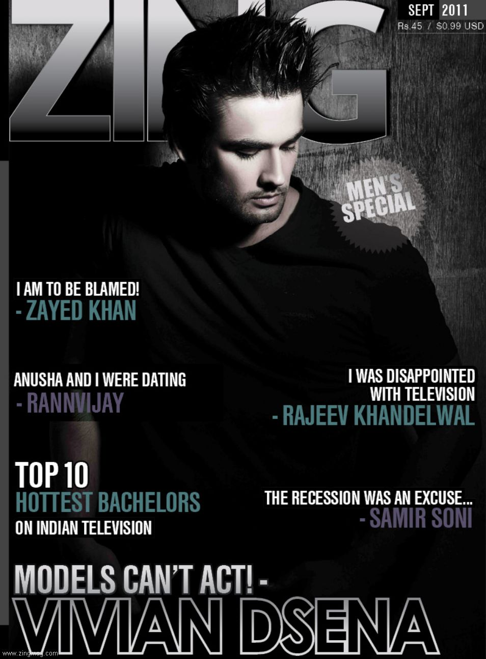 Zing Issue September 2011 Coverpage - Vivian Dsena