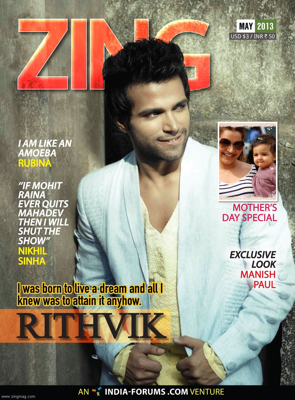 Zing Cover Page featuring Rithvik Dhanjani
